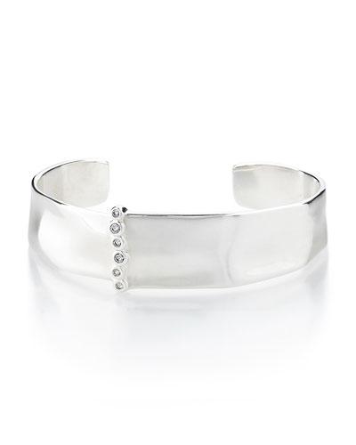 925 Glamazon Medium Cuff w/Diamond Bezels