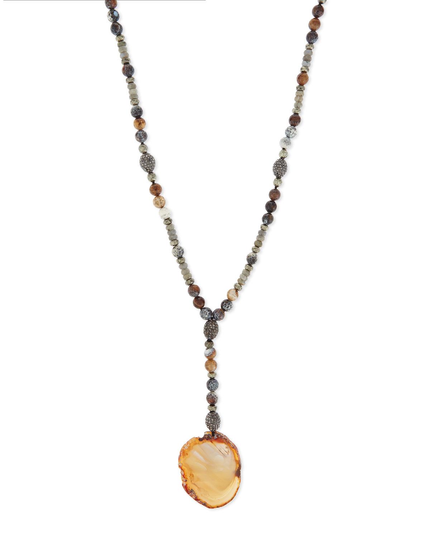 Labradorite & Agate Pendant Necklace