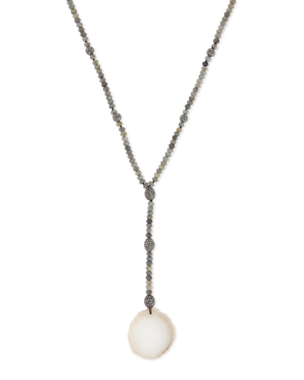 Labradorite & White Agate Pendant Necklace