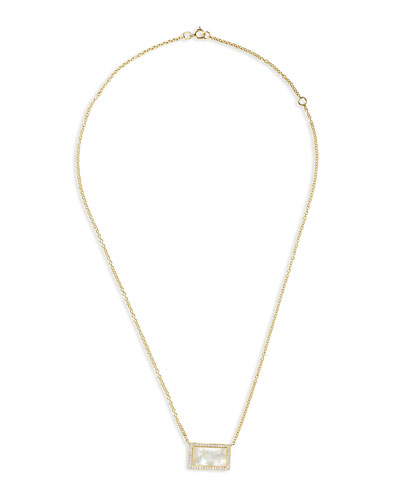 18K Rock Candy Mother-of-Pearl Rectangle Pendant Necklace