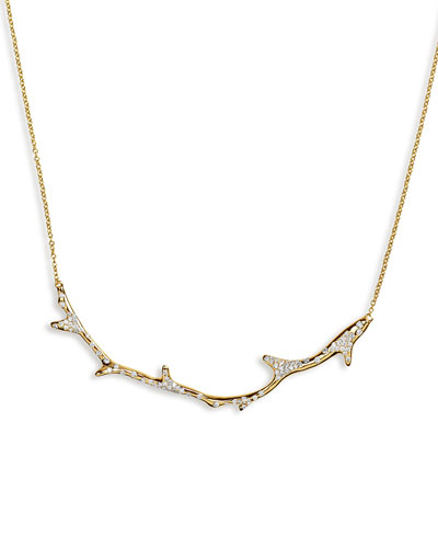 18K Glamazon Coral Branch Necklace with Diamonds