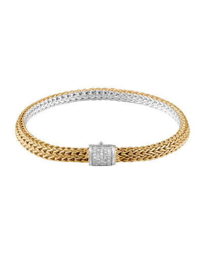 Classic Chain Gold & Silver Diamond Extra-Small Reversible Bracelet