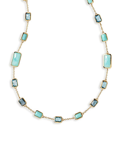 18K Rock Candy Station Necklace in Waterfall, 34.5