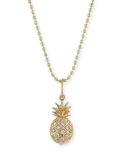 Pavé Diamond Pineapple Charm Necklace