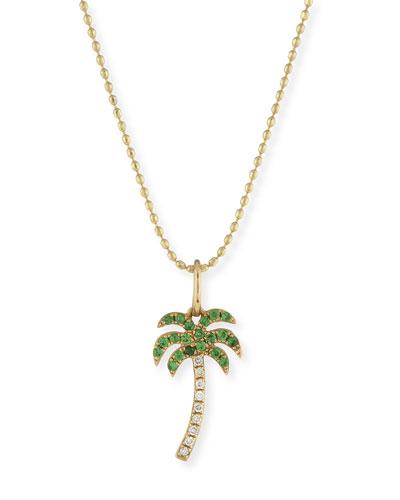 Pavé Diamond & Green Garnet Palm Tree Charm Necklace
