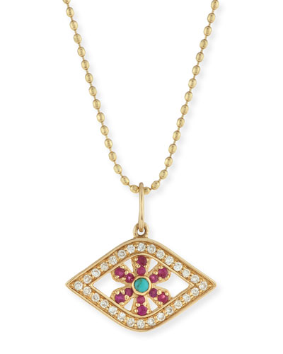 Pavé Diamond, Ruby & Turquoise Evil Eye Flower Charm Necklace