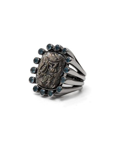 Cushion Carved Mother-of-Pearl Ring, Gray