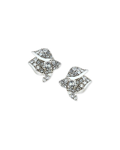 Gradient Crystal Flower Button Earrings, Black