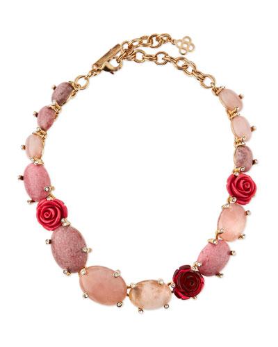 Crystal Rosette Station Necklace, Pink/Multi