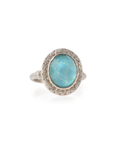 New World Rutilated Quartz and Turquoise Doublet Ring with Diamonds Details