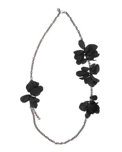 Long Chain Flower Necklace, Black
