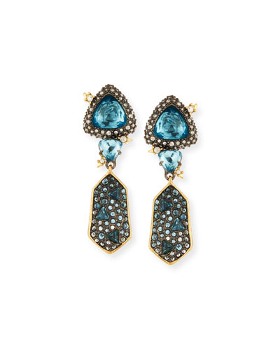 Double Fancy-Cut Crystal Drop Earrings, Blue
