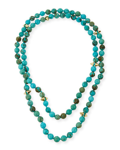 Long Faceted Turquoise Bead Necklace, 40