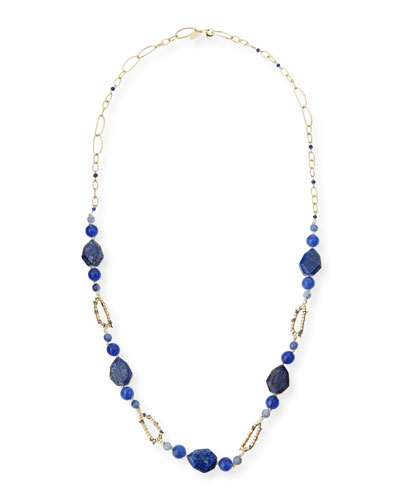 Chain Link Lapis & Iolite Station Necklace, 32