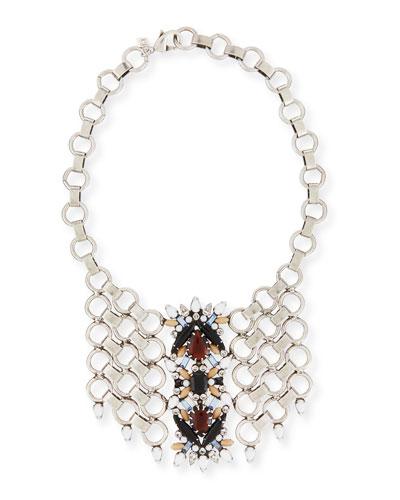 Alessio Crystal Circle-Link Bib Necklace