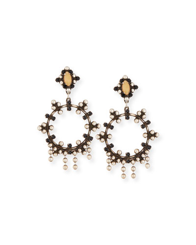 Valentia Beaded Hoop Drop Earrings, Black/Nude