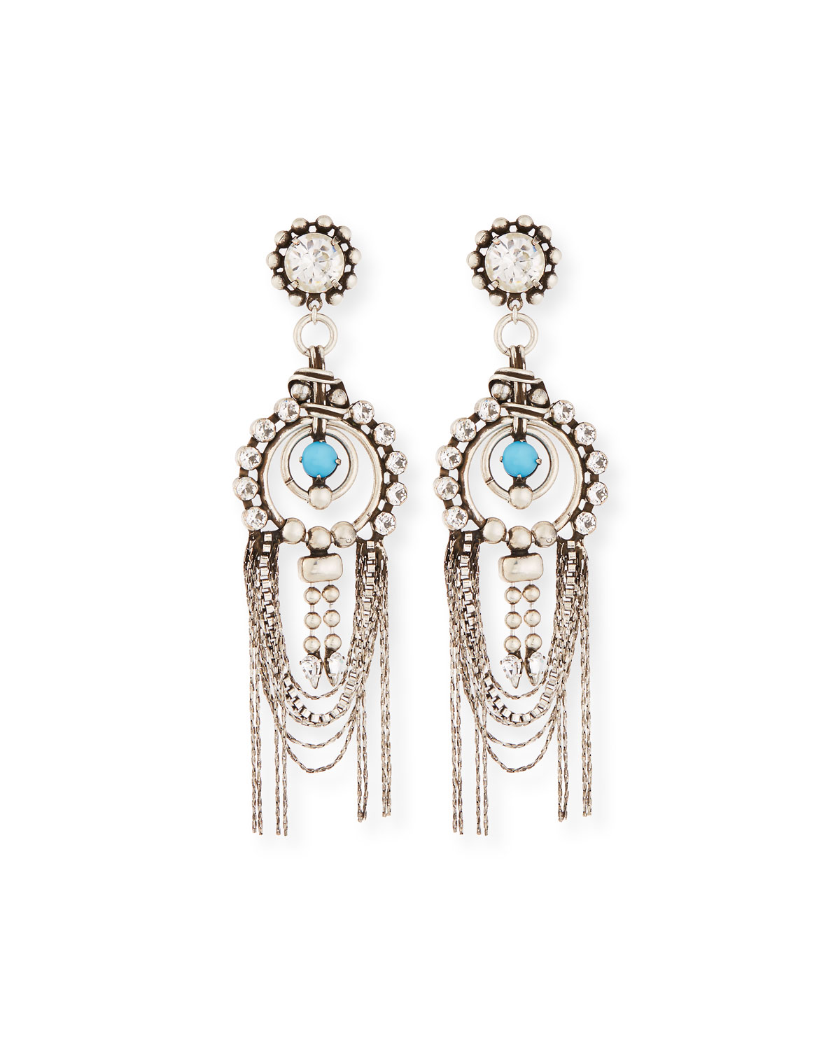 Monterosso Chain-Drop Statement Earrings, Turquoise/Clear