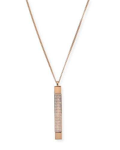 Mia Quadra Pavé Crystal Bar Necklace, Rose Gold