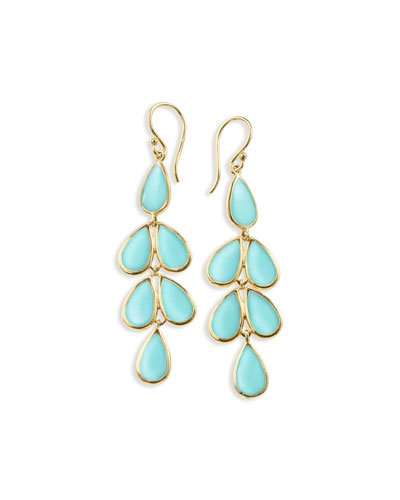 18K Rock Candy Turquoise Teardrop Earrings