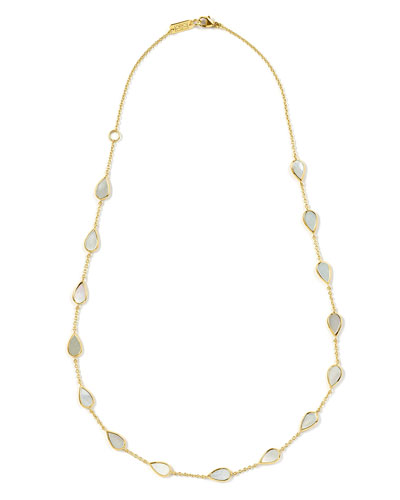18K Rock Candy Small Mother-of-Pearl Pear-Station Necklace