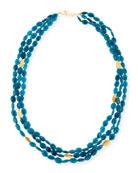 """Blue Apatite Multi-Strand Necklace, 36""""L"""