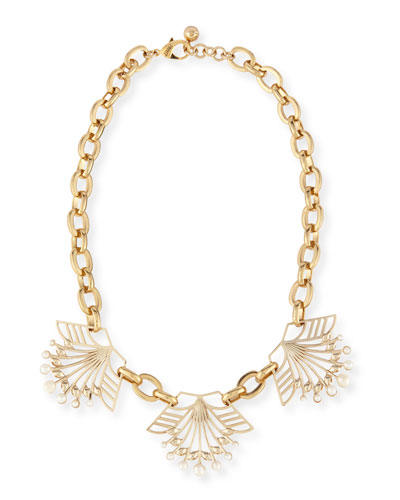 Alesia Pearly Geometric Station Necklace
