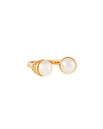 Pearly Bud Ring, Ivory/Gold