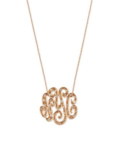 Small 14K Rose Gold & Diamond Lace Monogram Necklace