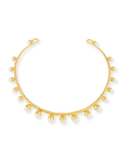 Pearly Bud Collar Necklace, Ivory/Gold