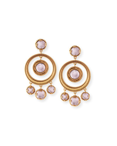 Crystal Coin Statement Earrings, Gold/Pink