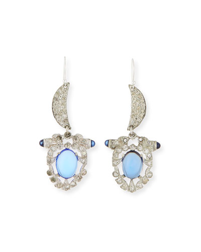 One-of-a-Kind Crystal Crescent Moon Statement Earrings, Teal/Blue