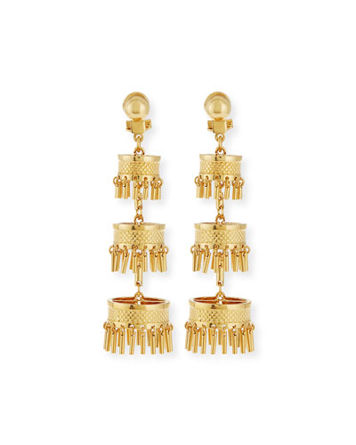 Golden Pagoda Statement Earrings