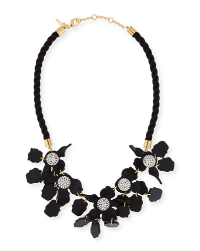 Crystal Lily Rope Necklace, Black