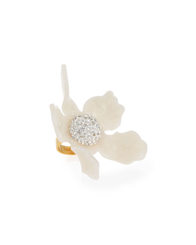 Crystal Lily Ring, Pearl White, Size 7