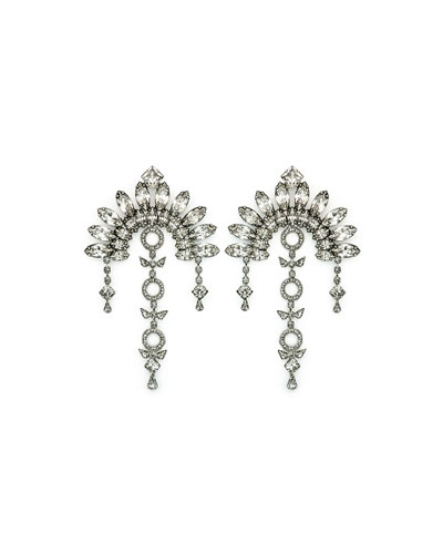 Ivy Crystal Fan Drop Earrings