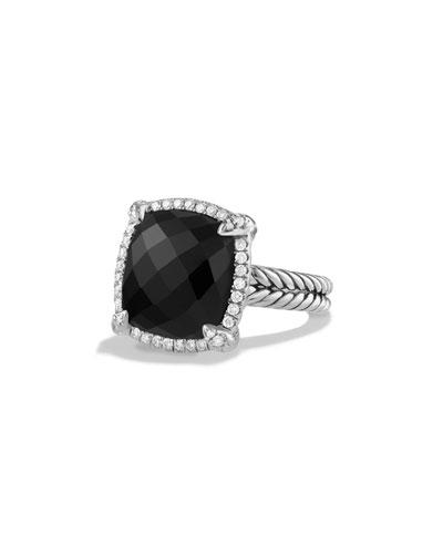 14mm Châtelaine Hampton Blue Topaz Ring with Diamonds
