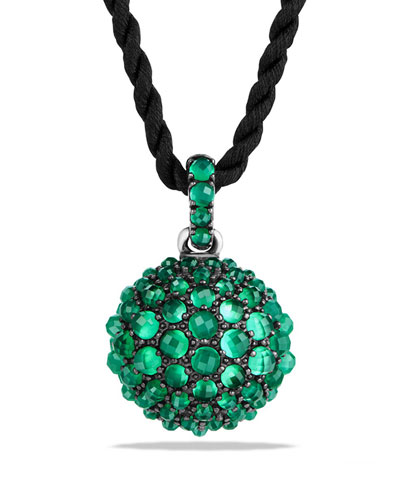 20mm Osetra Faceted Green Onyx Pendant Necklace, 42