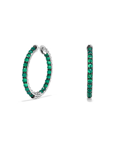Osetra Faceted Green Onyx Hoop Earrings