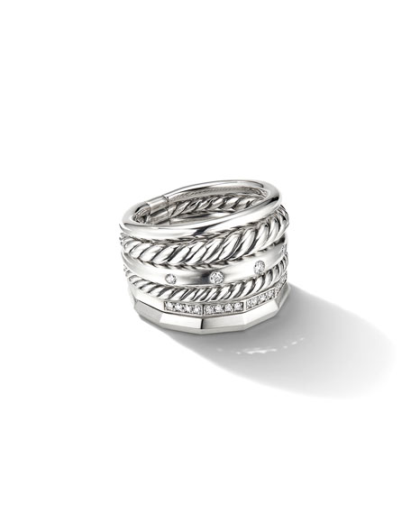 David Yurman 16mm Stax Wide Stacked Ring with Diamonds