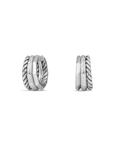 David Yurman Stax Huggie Earrings with Diamonds