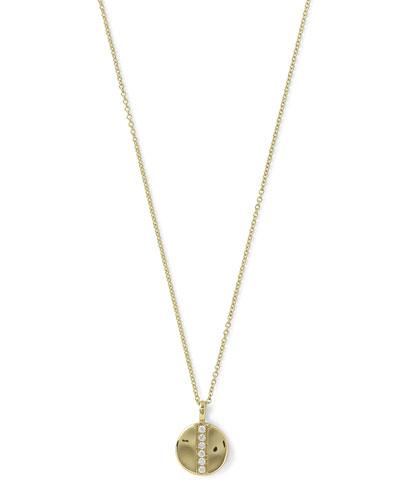 18K Glamazon Mini Disc Pendant Necklace with Diamonds