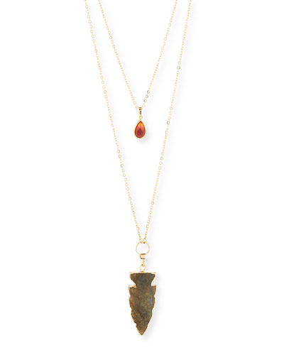 Double-Strand Citrine & Labradorite Arrowhead Necklace