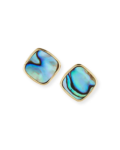 Bonhaire Diamond-Shaped Abalone Stud Earrings