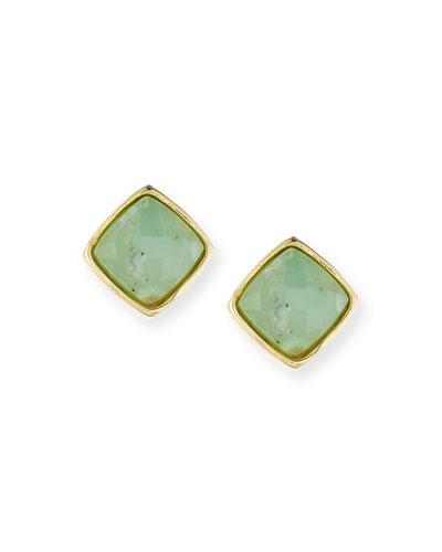 Aruba Diamond-Shaped Stud Earrings, Chrysoprase