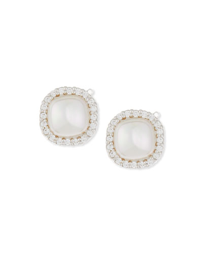 9mm Pavé Crystal & Pearl Button Earrings