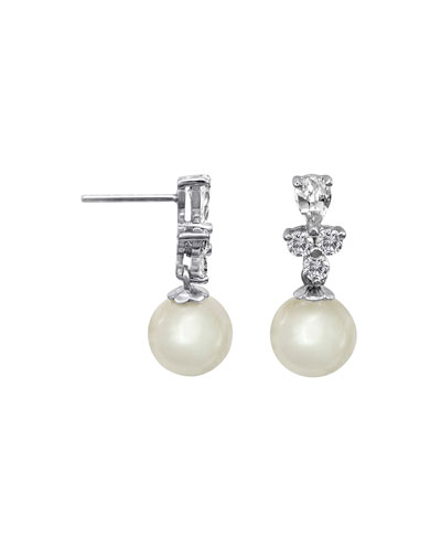 10mm Round Pearl & CZ Crystal Drop Earrings