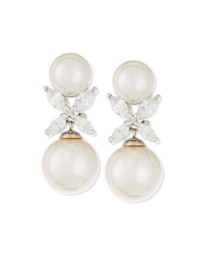 9.5mm Round Pearl & Marquis CZ Crystal Drop Earrings