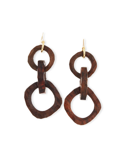 Carved Wooden Link Earrings