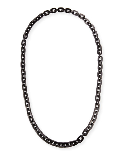 Black Horn Rectangular Link Necklace, 40
