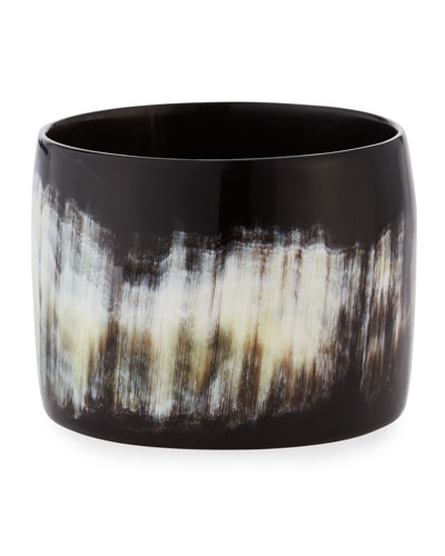 Black Horn Wide Bangle Bracelet